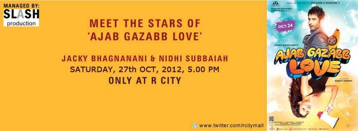 Meet Jackky Bhagnani & Nidhi Subbaiah, the stars of Ajab Gazabb Love on 27 October 2012 at R City Mall, Ghatkopar, Mumbai | Events in Mumbai | MallsMarket