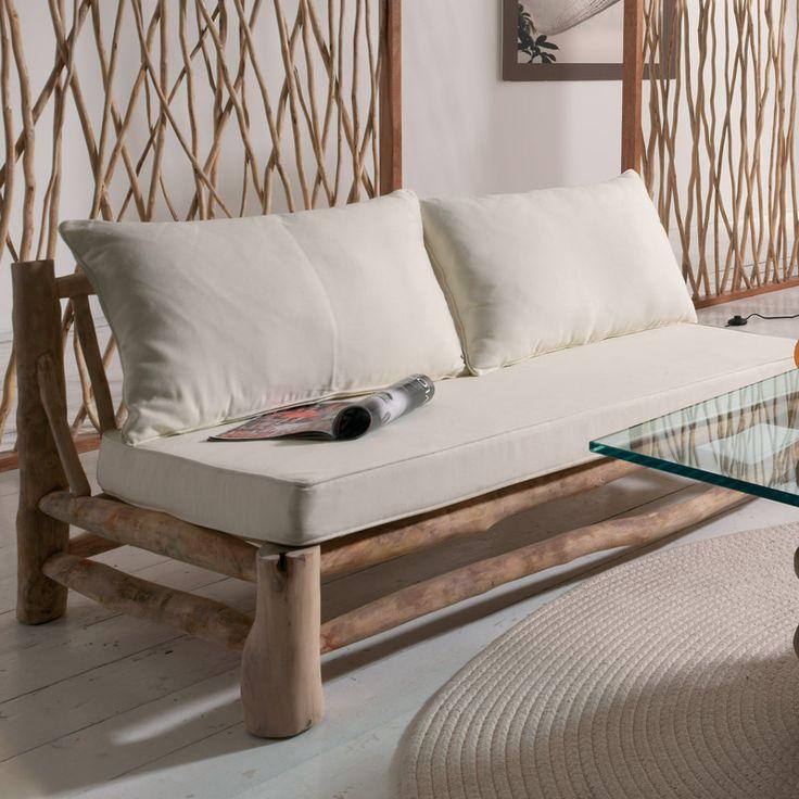 Canapé en teck massif LAGOS - cocktail scandinave €239 L140xP77 Existe en assises noires