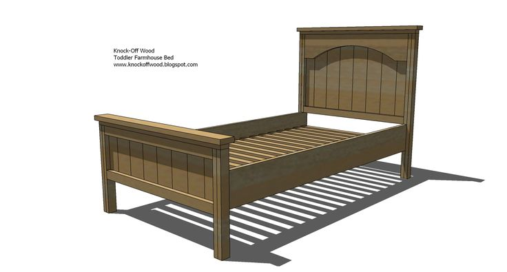 Ana White:  Toddler Farmhouse Bed - leave off the headboard and double up the footboard, needs a side-rail too
