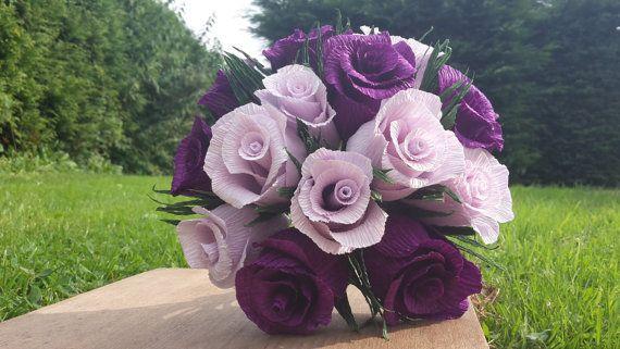 Purple Light Bridal Wedding Bouquet Crepe Paper by moniaflowers