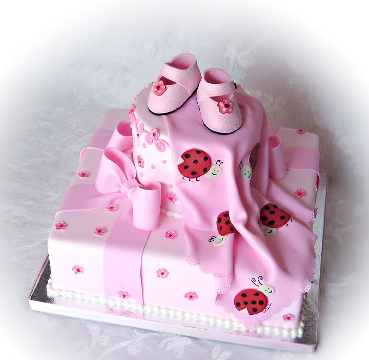 Ladybug Baby Shower Girl Theme pink | ... Shop - Truly Custom Cakery, LLC: Ladybugs and Bows Baby Shower Cake