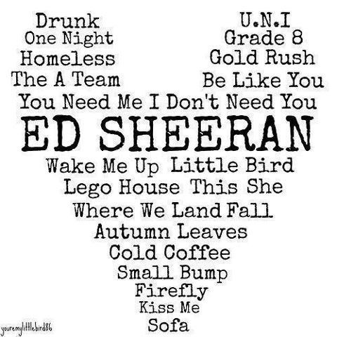 ED SHEERAN they forgot little lady miss you and homeless