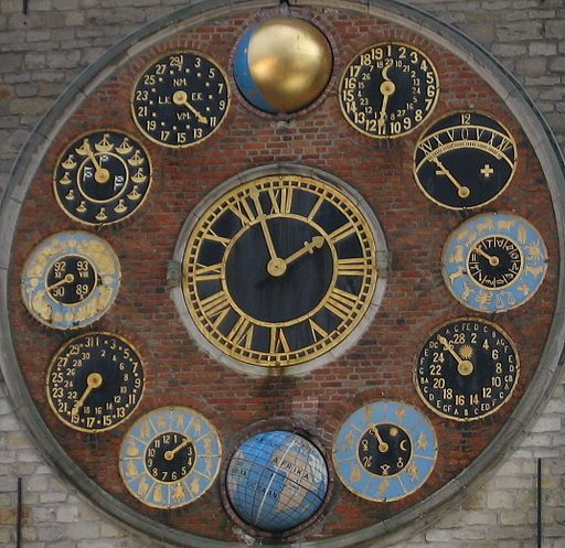Astronomical Clock (1930) Zimmertoren on Zimmer Tower in Lier, Belgium.