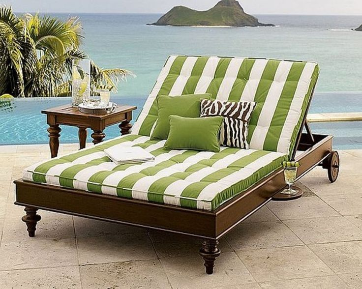 Beautiful Furniture, Light Green Striped Double Outdoor Chaise Lounge With Back  Wheels Three Pillows And Square