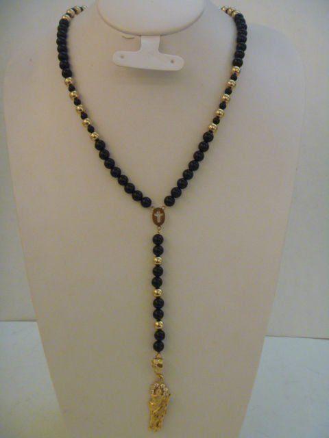 rosarios de de oro laminado de y 14k onix negra-Joyería Oro ...