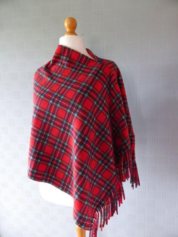 Red plaid tartan poncho shawl blanket scarf in soft fleece traditional Scottish Royal Stewart tartan