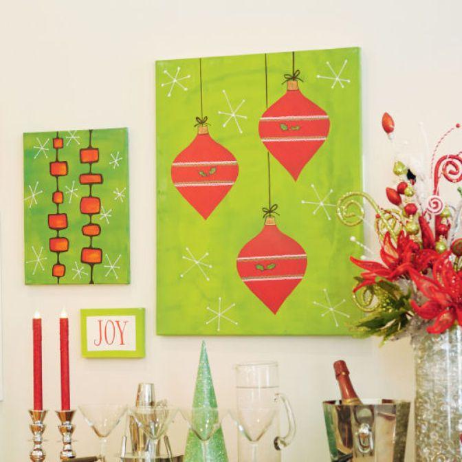 Christmas Wall Decor Pinterest : Diy christmas ornament canvas wall art holiday decor