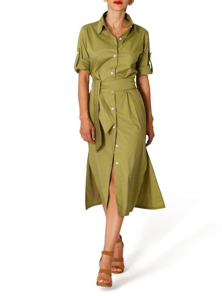 """Claudia"" Military Style Shirt Dress"