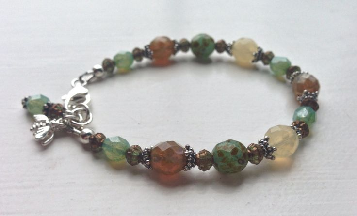 "Sterling Silver bracelet with aquamarine green, caramel and lemon yellow Czech glass beads, 7"" - 7.5"" (18-19cm) by ShereesTrinketBox on Etsy"