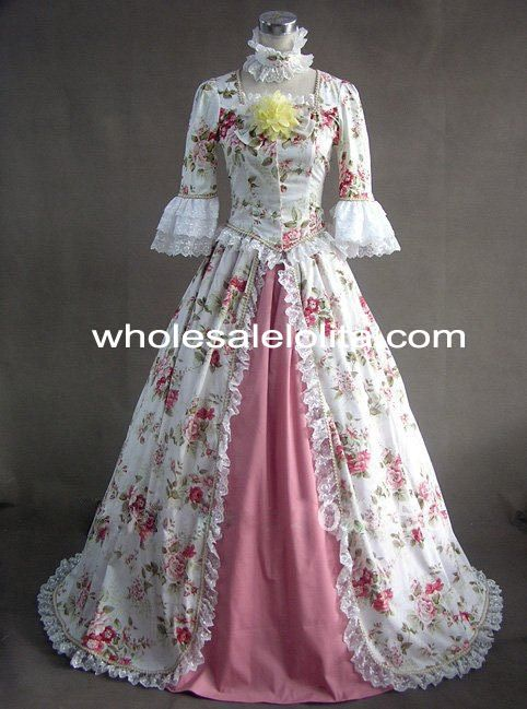 Cheap dress xs, Buy Quality dress puzzle directly from China dress sumer Suppliers: Rococo Style Flower Print Victorian Civil War/Southern Belle Ball Gown Wedding Dress Garden Party DressCondition: Bran