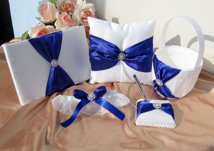 royal blue and white apparel | is made of soft white bridal satin fabric. Features a silky royal blue ...