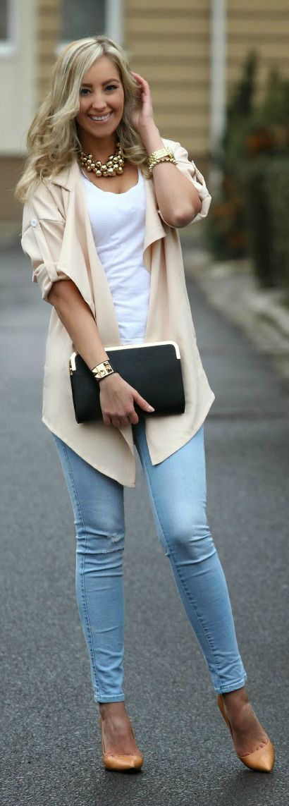 Denim, Nude, & Gold / Style and Blog