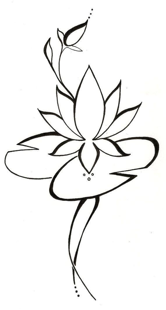 Lotus Lilypad Original Tattoo Design by silverwingstattoos on Etsy, $18.00