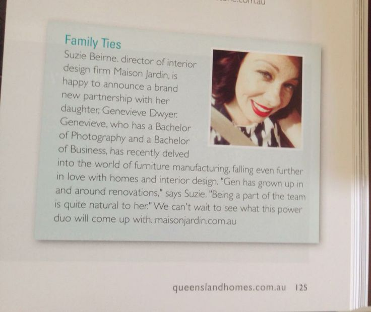 My claim to fame in Autumn's Queensland Homes Magazine 2014 - About Town Article http://www.maisonjardin.com.au