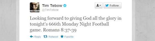 Tim Tebow Versus Satan — 666 Tweet Causing Uproar Ahead of Monday Night Football