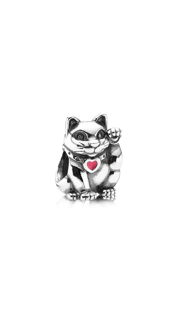 Animals - Charms - Red Waving Cat