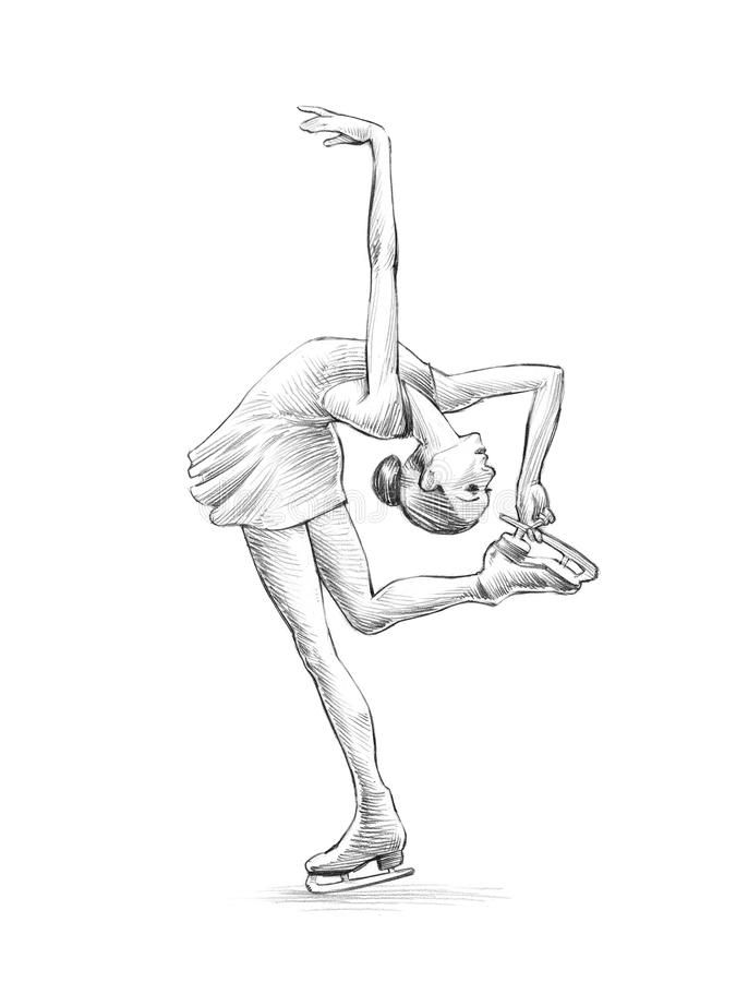 Download Hand-drawn Sketch, Pencil Illustration Of A Figure Skater Woman Stock Illustration – Illustration: 38145479