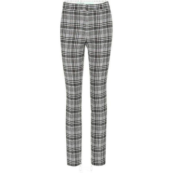 Off-White Houndstooth Slim-Fit Trousers ($765) ❤ liked on Polyvore featuring pants, grey, off white pants, slim fit pants, grey trousers, gray pants and houndstooth pants