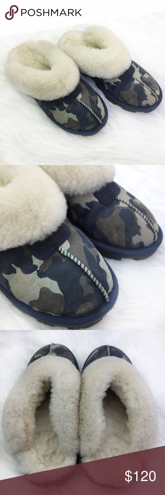 UGG Coquette Camo Sheepskin Slipper Clogs •UGG Coquette Camo Suede Sheepskin Slipper Clogs •Women's Size 5 •Retail $120 •In great gently used condition with light wear on inner and bottom soles, one small spot where color bled (pictured) UGG Shoes Slippers