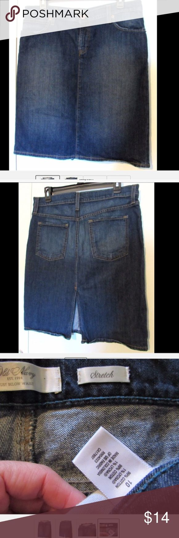"""Old Navy Pencil Jeans Denim Skirt Sz 10 For sale is this gently used denim jeans pencil skirt by Old Navy. Sz 10. Very nice condition, dark blue wash. Cotton/Lycra blend.   Measures 34"""" diameter just below the waist, 21"""" long roughly, with an 8"""" back vent. Bundle and save! Old Navy Skirts Pencil"""