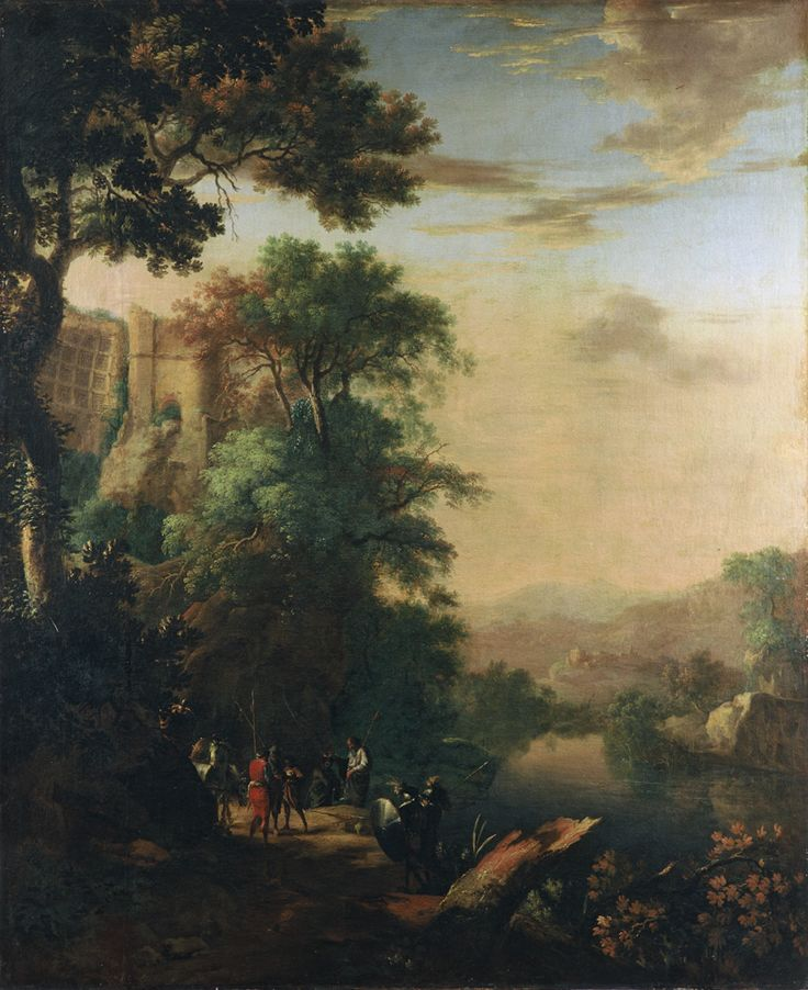 """Herman van SWANEVELT, """"Paysage fluvial avec saint Philippe baptisant l'eunuque de la reine Candace"""""""