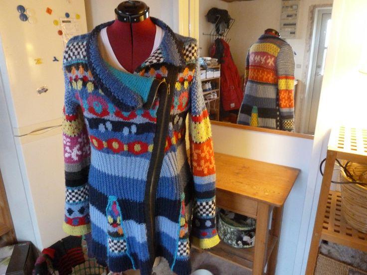 Mix-mønster trøje, eget design. 100% uld.