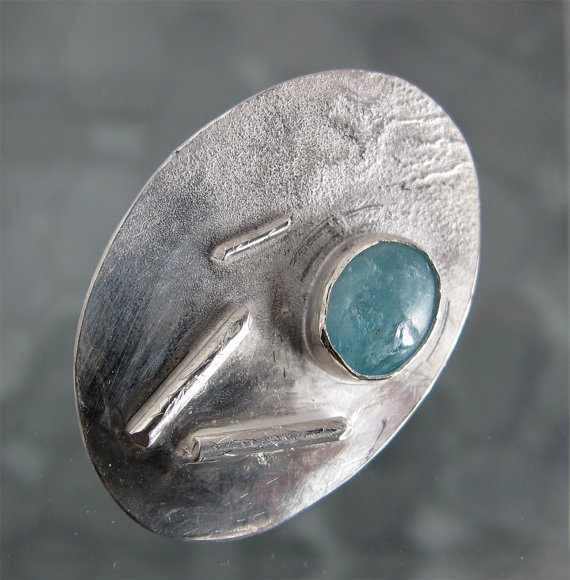 Seaside 4 Aquamarine Brooch Sterling Silver by DixSterling on Etsy, $62.00