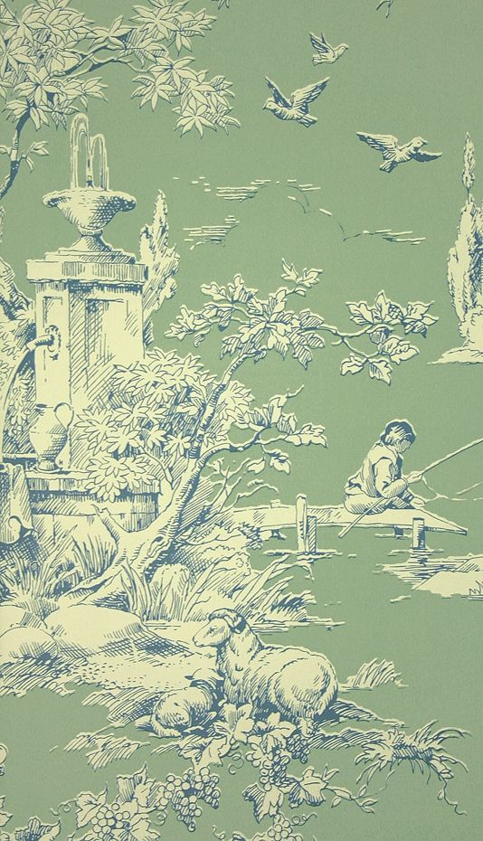 La Fontaine Toile Wallpaper A toile wallpaper depicting a traditional farmyard scene in blue on sage.