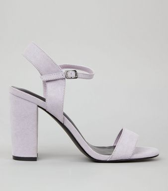 Lilac Suedette Block Heel Ankle Strap Sandals | New Look