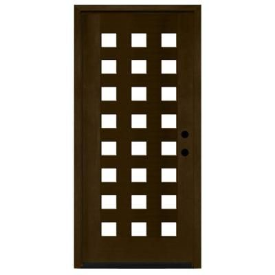 36 in x 80 in modern 24 lite obscure stained mahogany for Home depot front doors wood