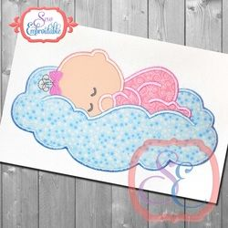 Cloud Baby Applique by www.sewembroidable.com. Free July 2016 Silver Design at www.theappliquecircle.com