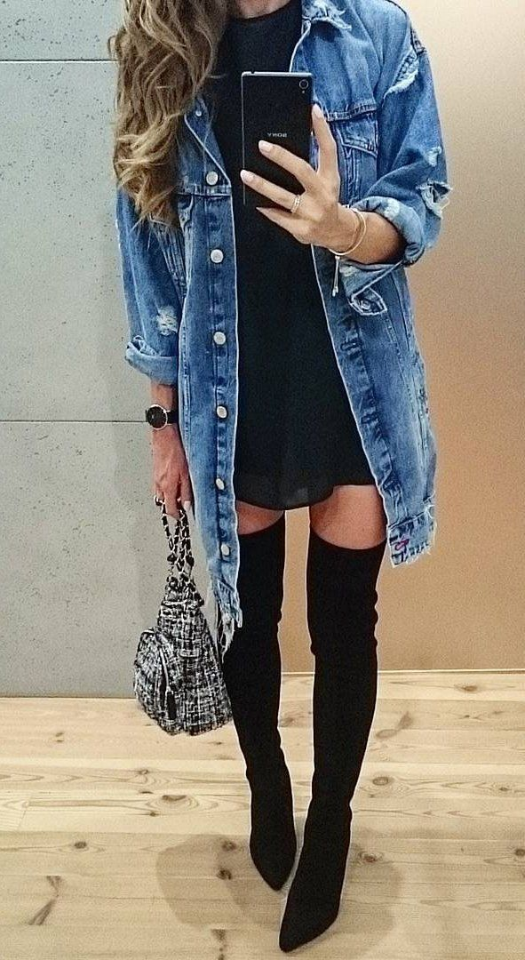 #fall #fashion · Denim Coat / Black Dress / Knee Length Boots