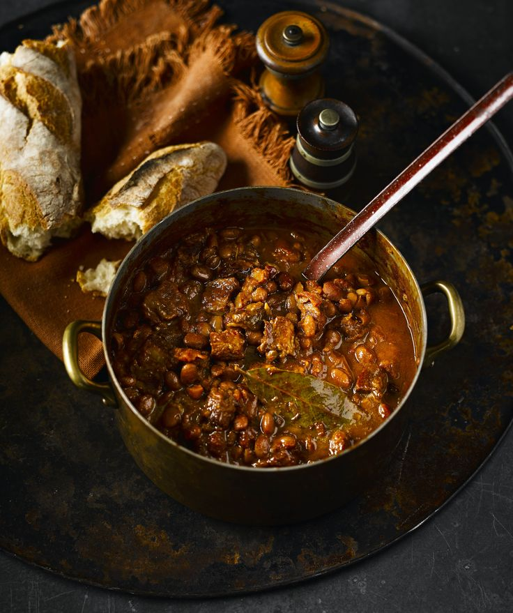 Smoky baked pork and beans: Adding big chunks of pork belly to this classic US side dish upgrades it to a meal-in-a-bowl. Simply serve with a spoon and crusty bread, it screams comfort food.