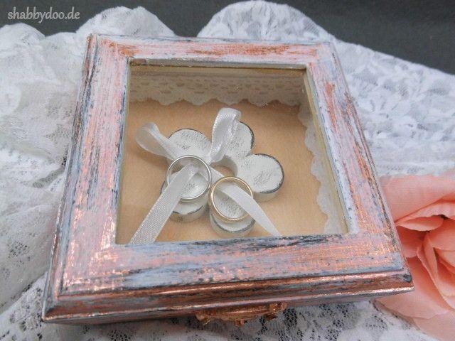 Ringkissen - Hochzeit ring box rosegold kupfer Ring schatulle  - ein Designerstück von shabbydoo bei DaWanda