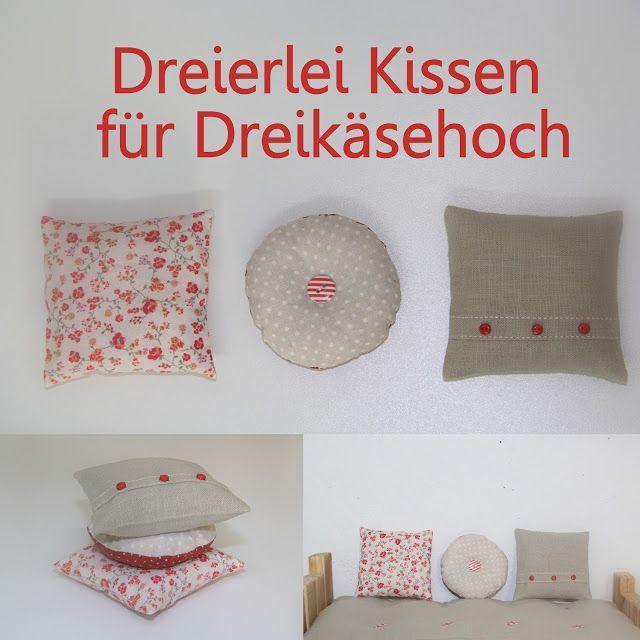 Barbaras Blumenkinder und Puppen Welt: DREIKÄSEHOCH GEHT SCHLAFEN # 4  Dreierlei Kissen *...