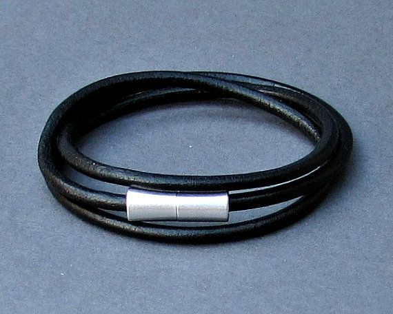 Wrap Mens Leather Bracelet Cuff SilverTube Mens by GUSFREE on Etsy