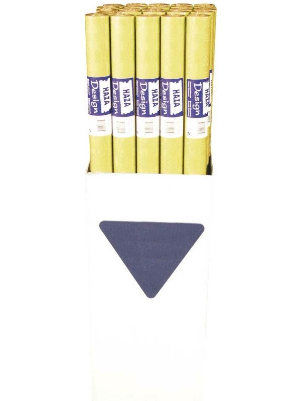 Goudgeel papieren tafelkleed op rol. Het goudgele tafelkleed zit op een rol, u kunt het kleed zelf op de juiste maat knippen. De afmeting is ongeveer 700x118cm.
