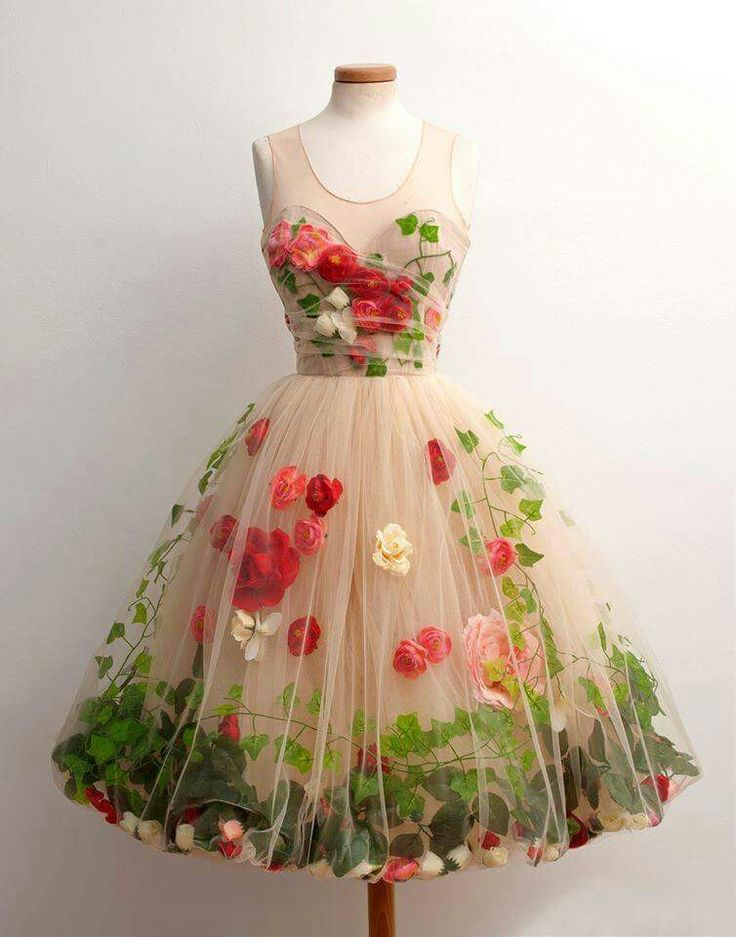 Floral tulle dress. Cream, red, green.