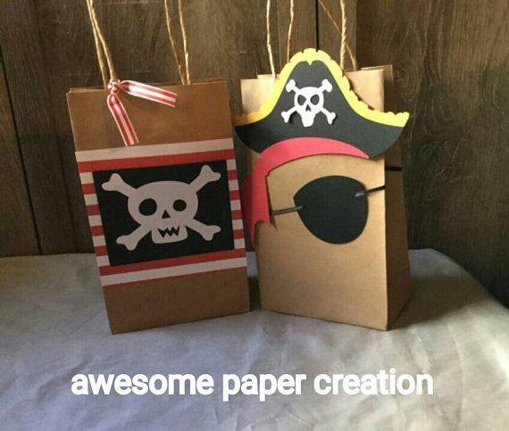 Sacs de faveur pirate, pirate goodie bags, thème de la fête pirate, lot de 10…