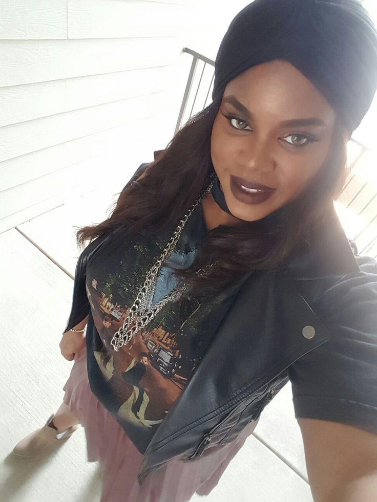 Turban  Woc makeup LA splash lipstick  Beatles shirt  Ig:vickiisashea