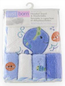 Just Born Baby Bath Terry Hooded Towel & Washcloth Set - BLUE SEA Boy 5 PC NEW