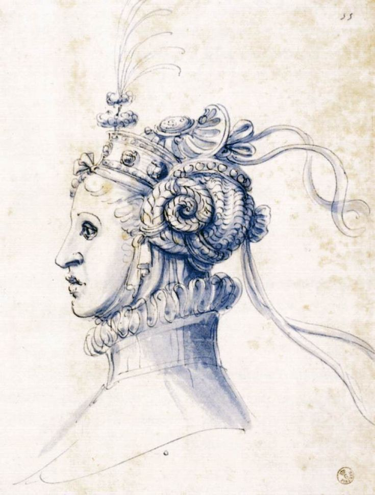 "Giuseppe Arcimboldo, ""Sketch for a Mask"" (1585), brown pen and blue wash, Galleria degli Uffizi, Florence (image via Web Gallery of Art)"