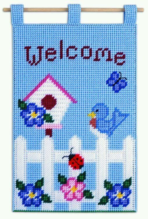 Spring Decor Plastic Canvas Kit - Welcome Wall/Door Hanging BLUE BIRD New unopened package