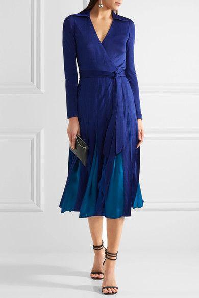 Diane von Furstenberg - Stevie Pleated Satin-jersey And Georgette Wrap Dress - Royal blue - US4