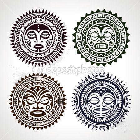 Четыре лица символы. Векторные иллюстрации — стоковая иллюстрация #24459463