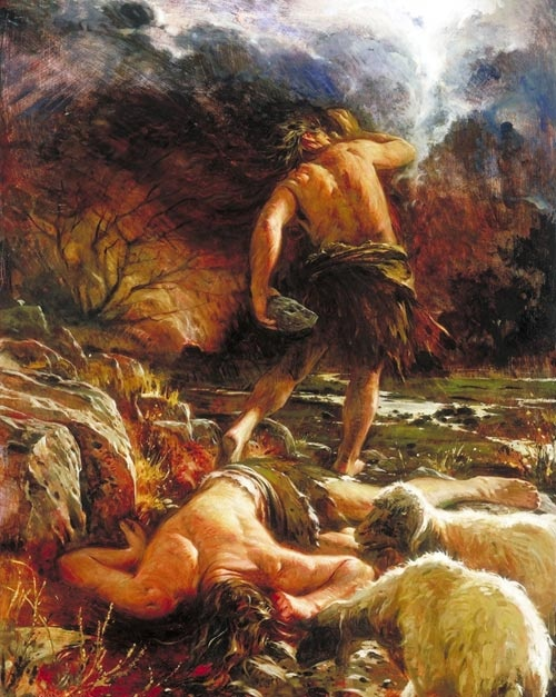 """Walter Rane does a marvelous job depicting that horrible moment when The Lord comes to Cain (who has just slain his righteous brother, Abel) and asks, """"Where is thy Brother?""""  Thus murder enters the world.  Genesis"""