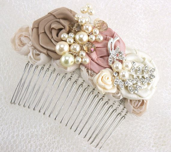 Bridal Hair Comb Fascinator in Dusty Rose, Champagne and Ivory with Handmade Satin Flowers, Jewels, Crystals and Czech Pearls