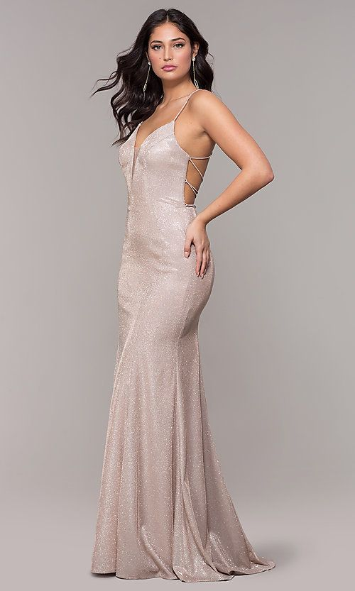 0540eedd20 Illusion Inset V-Neck Open Back Long Prom Dress in 2019