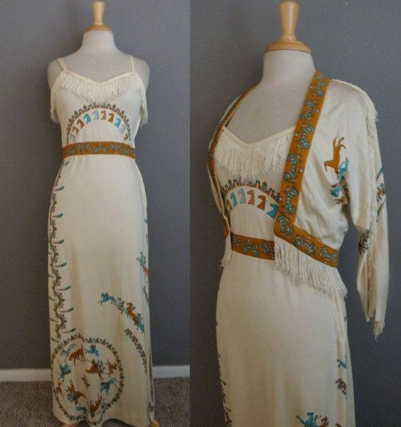 Ultra RARE Vintage Op Art Paganne Signed Novelty Cherokee Indian bohemian maxi dress with matching cropped bolero jacket and silk fringe trim. A true RARITY! by GGMMVintage on etsy!!