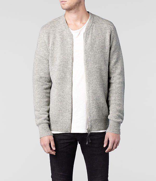 Mens Lloyd Knitted Bomber Jacket (Light Grey Marl) | ALLSAINTS.com